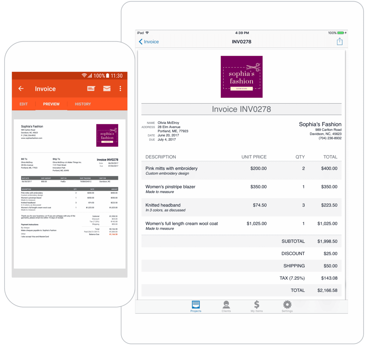 Image of two different Invoice Simple invoice templates on mobile devices