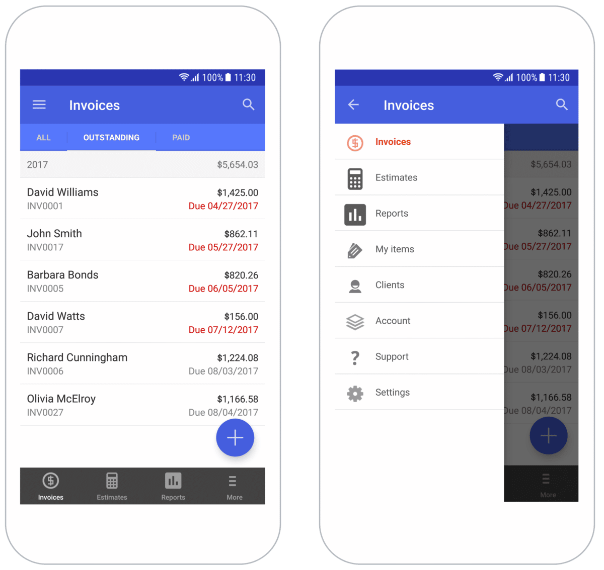 Image of two mobile devices showing invoice management features menu and outstanding invoices list in Invoice Simple