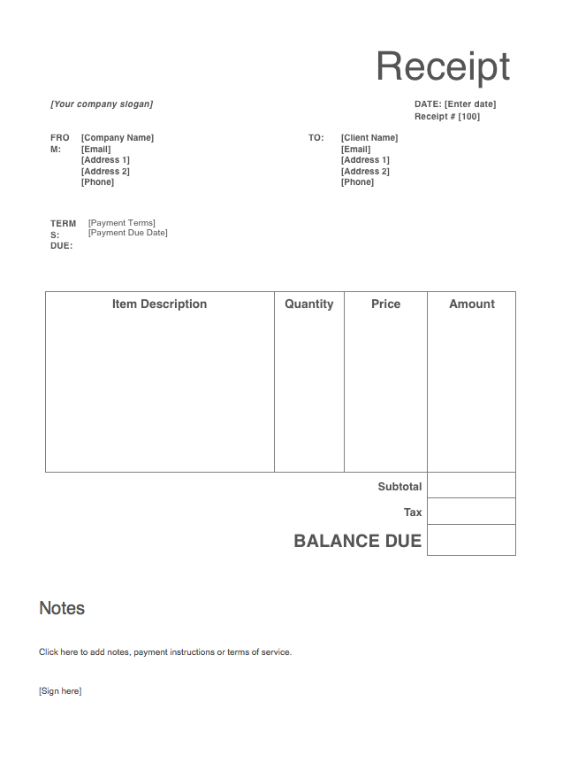 Receipt template screenshot