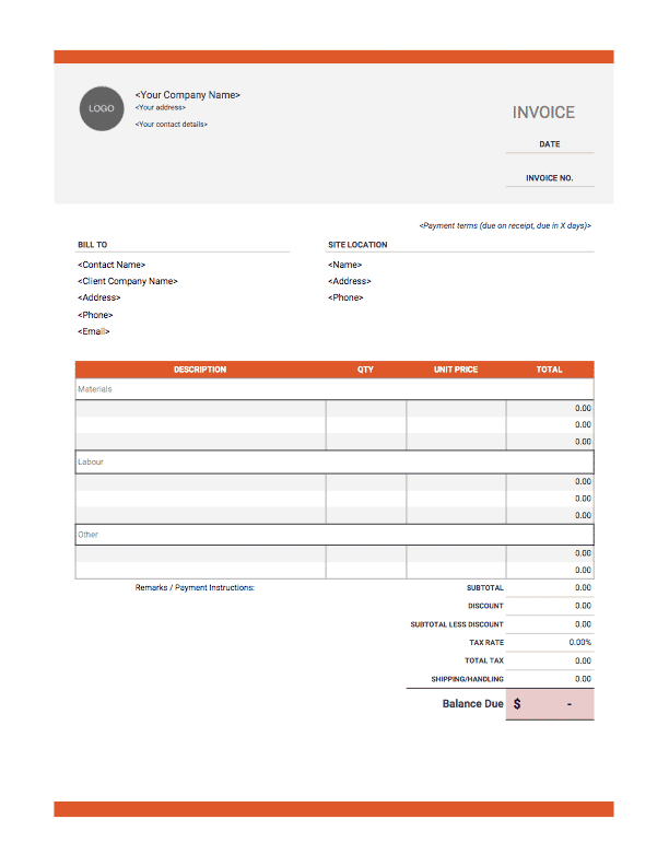 It is a picture of Trust Free Printable Construction Invoice Template