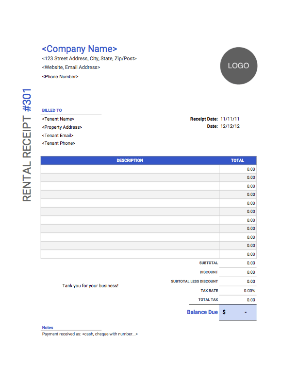 rent receipt template with side bar