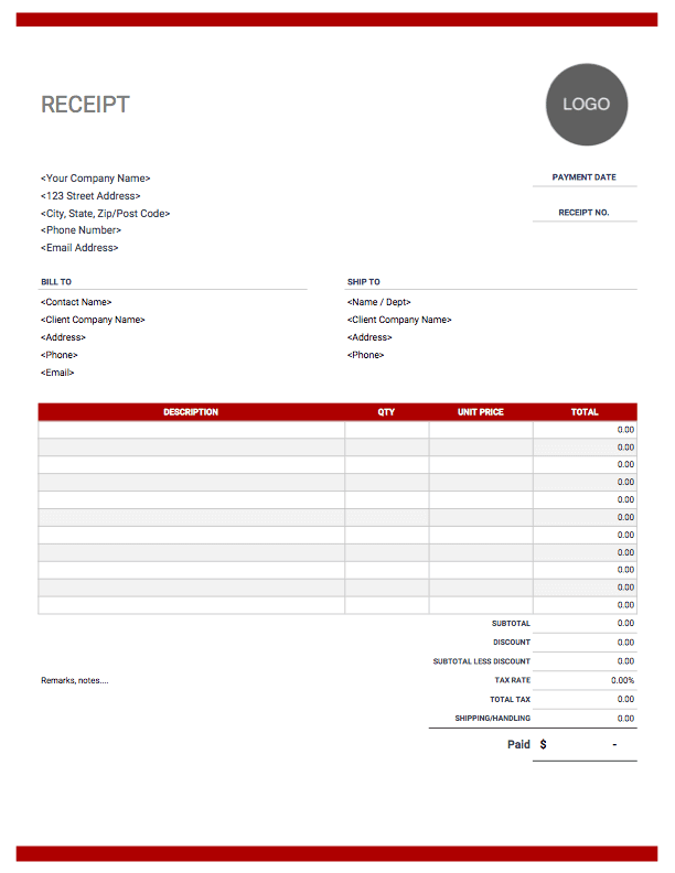 Standard receipt template with red theme