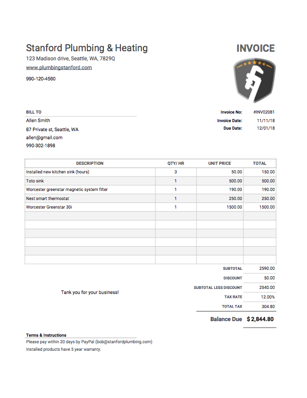 simple printable sample invoice