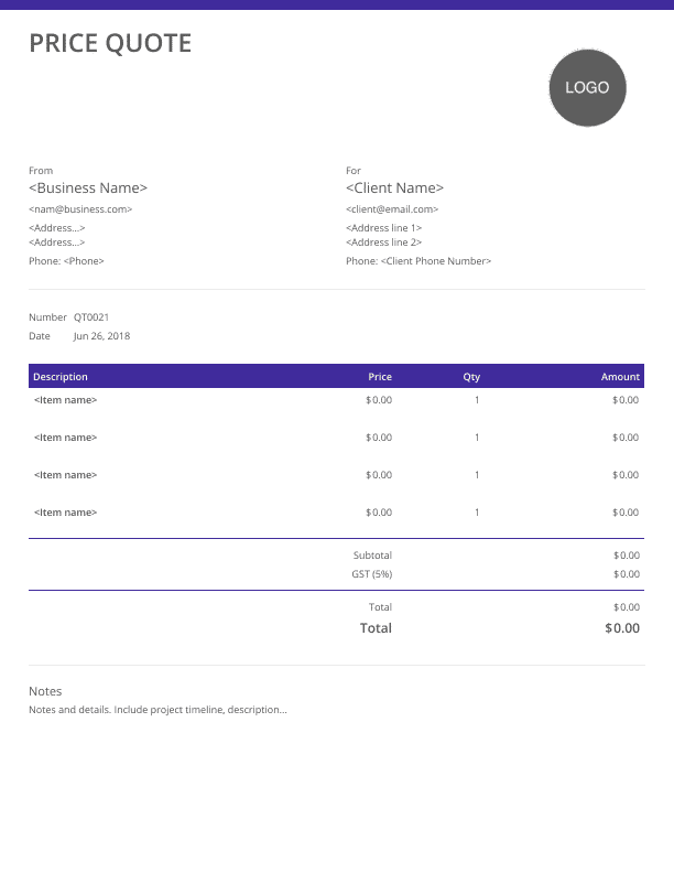 pricing quote - purple theme