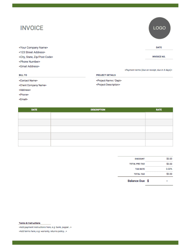 Fixed rate graphic design invoice - green