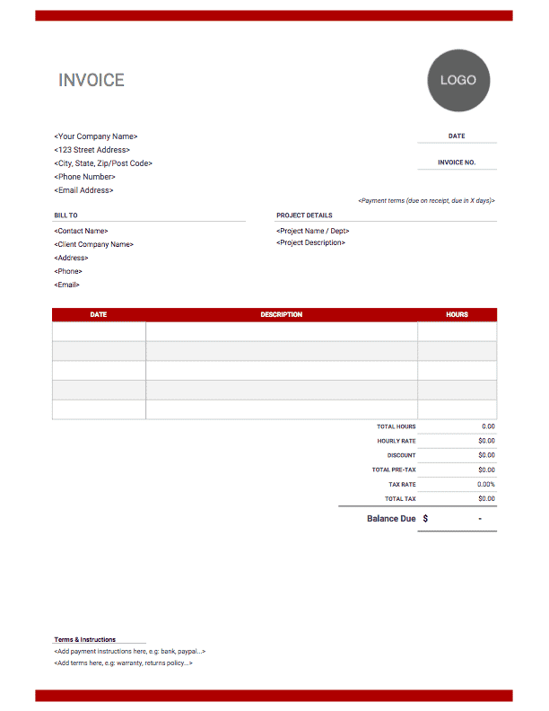Hourly graphic design invoice